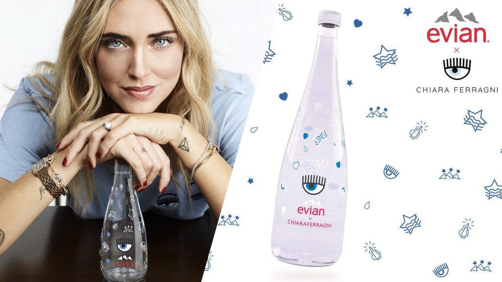 Chiara Ferragni Evian drop marketing packaging