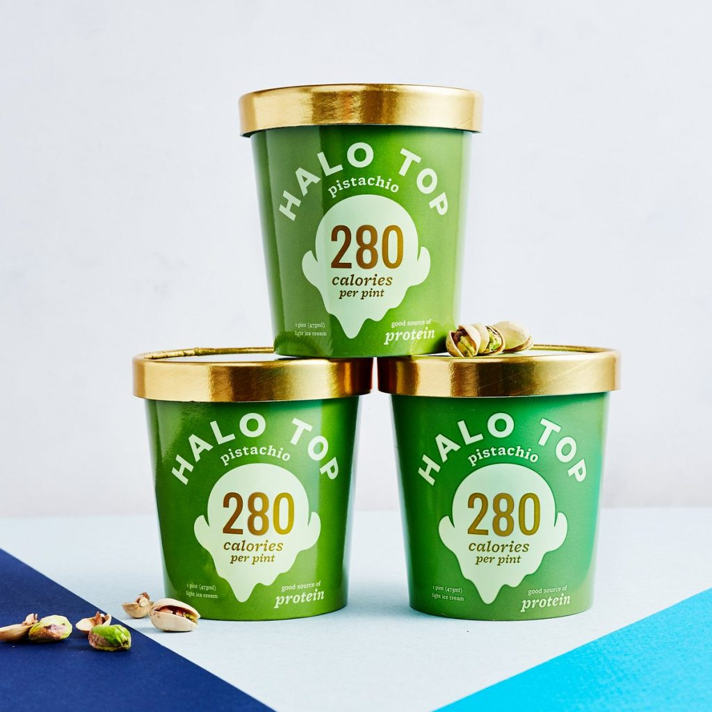 Halo Top, packaging, ice cream, design, graphic, green, healthy