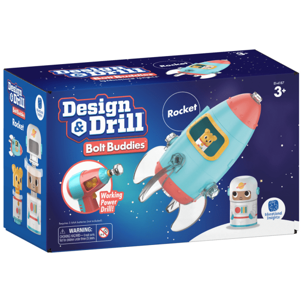educational insights, toys, packaging, rocket, drill, design